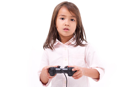experiencing: Frustrated little girl gamer experiencing game over