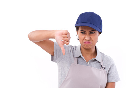 femme travailleur: unhappy female worker giving thumb down gesture