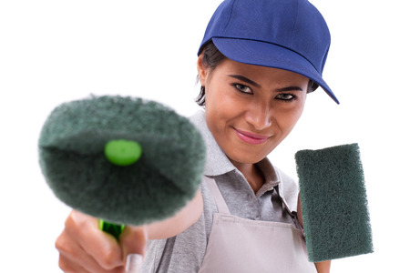 cleaning service: professional cleaning service staff pointing at you