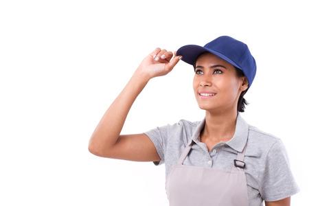 mujer trabajadora: esperanza, trabajador mujer segura de sí mirando hacia arriba