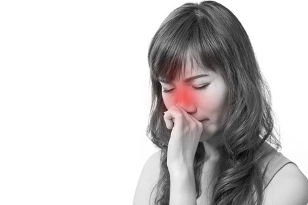 cold background: woman with cold or flu, running nose, white isolated background Stock Photo