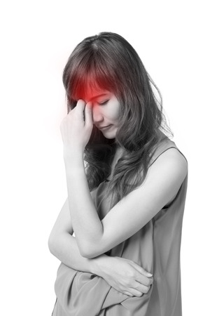 stress woman: sick woman with headache, migrain, stress, negative feeling, white isolated background