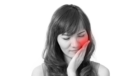 woman suffers from toothache 스톡 콘텐츠