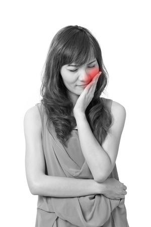dolor de muelas: Mujer sufre de dolor de muelas