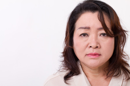 sad, disappointed, unhappy, negative, depressed middle aged woman 스톡 콘텐츠