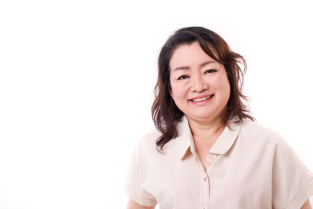 middle age women: happy middle aged asian woman