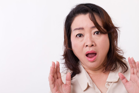asian lady: surprised, shocked, amazed, stunned middle age woman