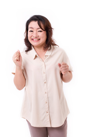 exited middle aged asian woman Stock Photo - 42782012