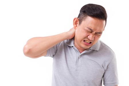 man suffering from neck pain Foto de archivo