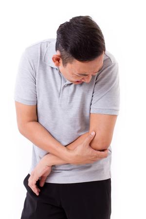 codo: Hombre que sufre de dolor en las articulaciones del codo
