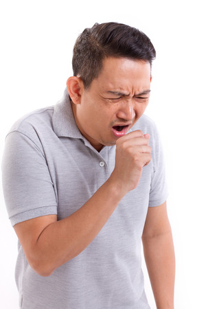coughing: sick man coughing