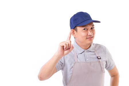 mandil: trabajador de confianza apuntando hacia arriba