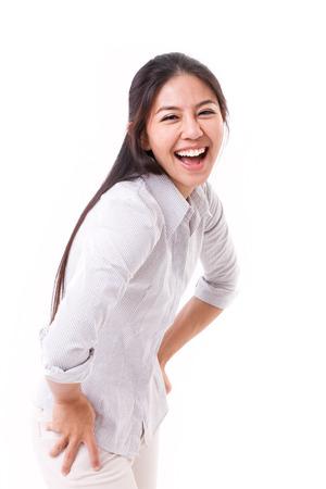 feliz, mujer de risa