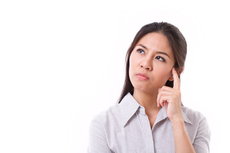 displeasure: woman thinking, looking up with stressful expression