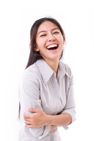 lachendes gesicht: gl�ckliche, lachende Frau