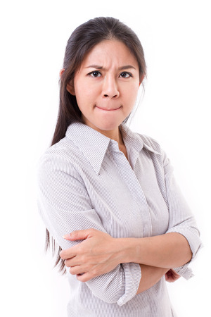 upset: upset, displeased, irritated woman looking at you Stock Photo