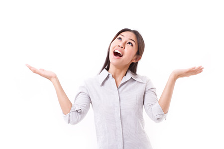 exited, happy, satisfied woman looking up Stock Photo - 43489741