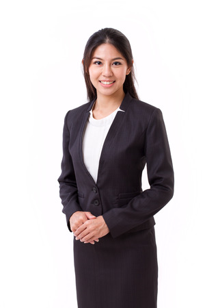 woman business suit: confident asian businesswoman isolated