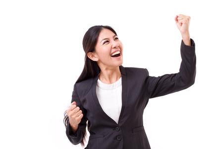 puÑos: salido, exitosa mujer de negocios mirando hacia arriba