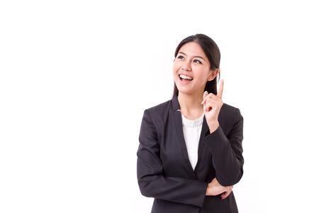 Denken zakenvrouw executive met goed idee