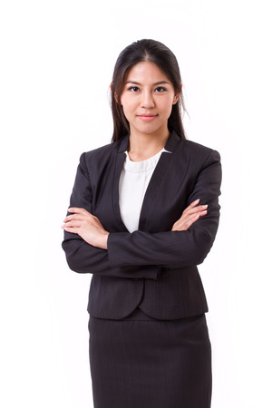 Confident asian businesswoman crossing her arms Stock Photo