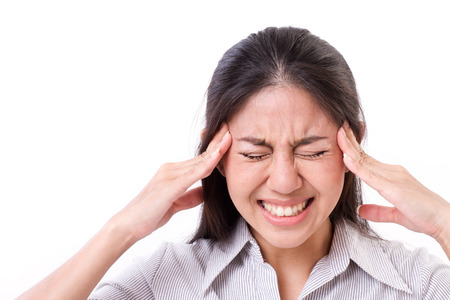 woman suffers from headache, migraine 스톡 콘텐츠