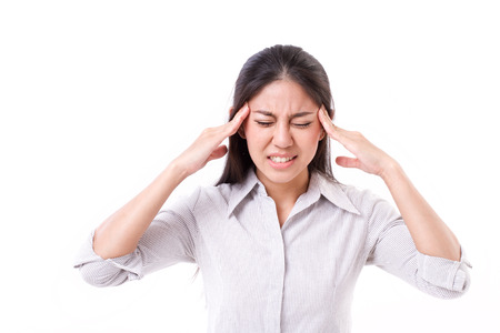 troubles: woman suffers from headache, migraine Stock Photo