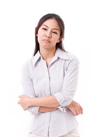 bored face: bored, upset woman Stock Photo