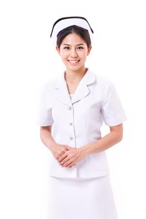 Zelfverzekerde verpleegster geïsoleerd Stockfoto