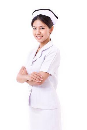 zelfverzekerde verpleegster geïsoleerd, kruising haar armen