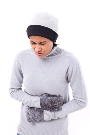 nausea: woman suffering from stomachache, nausea, belly problem