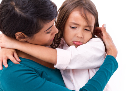 happy mom: mother comforting, caring her daughter in unhappy, sad, negative emotion
