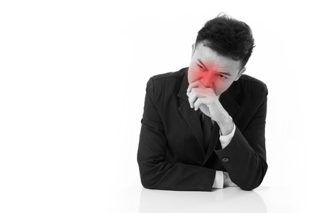 runny: sick businessman suffering runny nose with red alert accent