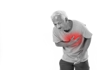 medical heart: sick old man suffering from heart attack or breathing difficulties with red alert accent