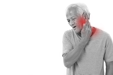 senior man on a neck pain: old man suffering from neck muscle inflammation or injury with red alert accent