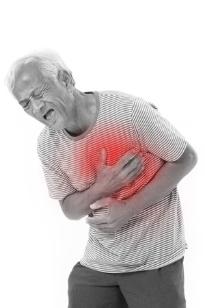 heart pain: sick old man suffering from heart attack or breathing difficulties with red alert accent
