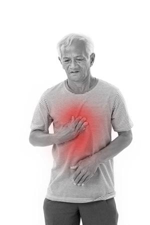 zieke oude man die lijden aan brandend maagzuur, zure reflux met rode alert accent