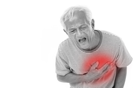 heartattack: sick old man suffering from heart attack or breathing difficulties with red alert accent