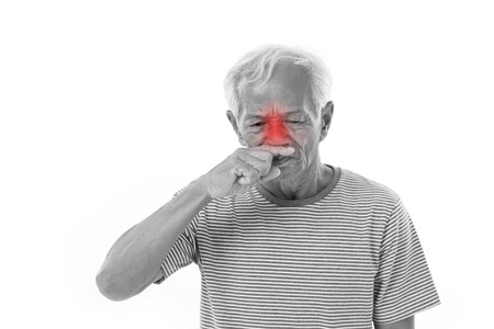 runny: sick old man, runny nose with red alert accent