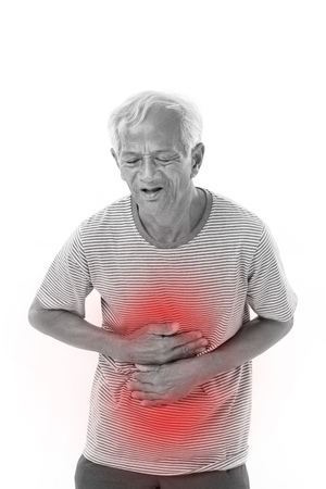 sick old man suffering from diarrhea, indigestive problem with red alert accent