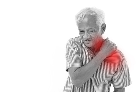 shoulder problem: old man suffering from shoulder muscle inflammation or injury with red alert accent