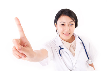 one female: female doctor pointing up one finger