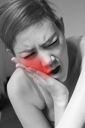 woman suffering from jaw pain, toothache, tooth sensitivity Stock Photo - 46570286