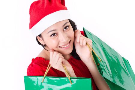 boxing day sale: happy woman enjoying christmas shopping Stock Photo