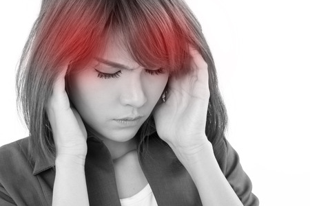 stressful business woman suffers from headache, stress, overwork, migraine on white isolated background Stockfoto