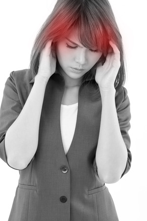 woman headache: stressful business woman suffers from headache, stress, overwork, migraine on white isolated background Stock Photo