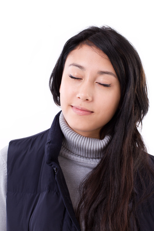 the carefree: relaxed, carefree woman closed her eyes, isolated Stock Photo