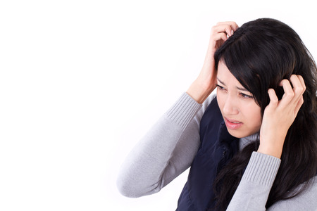 hangover: stressed woman suffering from headache, anxiety, migraine, hangover