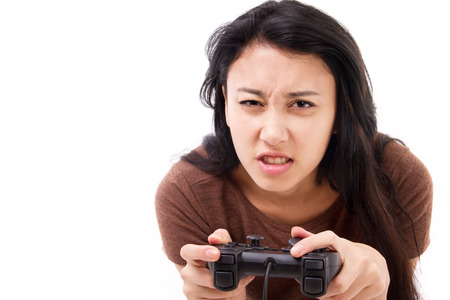 gamer: stressed, exited female gamer isolated