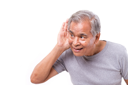 old asian: happy old man listening